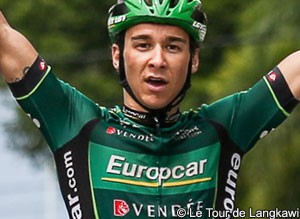 Photo: French track specialist Bryan Coquard turns the tables in stage two sprint.